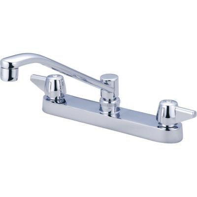 central brass 2 handle kitchen faucet in pvd polished