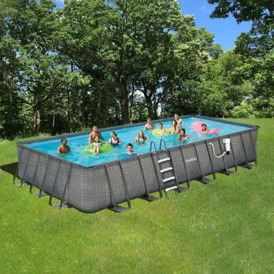 Dark Wicker Rectangular Metal Frame Above Ground Pool Package