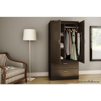 South Shore Acapella 2-Drawer Wardrobe in Chocolate