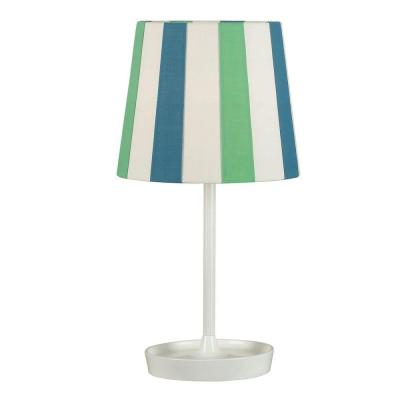 Kenroy Home Raya 18 in. Gloss White with Blue and Green Stripe Accent Lamp