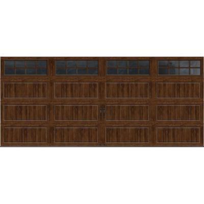 Clopay Gallery Collection 16 ft. x 7 ft. 18.4 R-Value Intellicore Insulated Ultra-Grain Walnut Garage Door with SQ24 Window