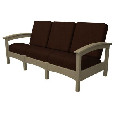 Trex Outdoor Furniture Rockport Sand Castle Patio Sofa with Bay Brown Cushions