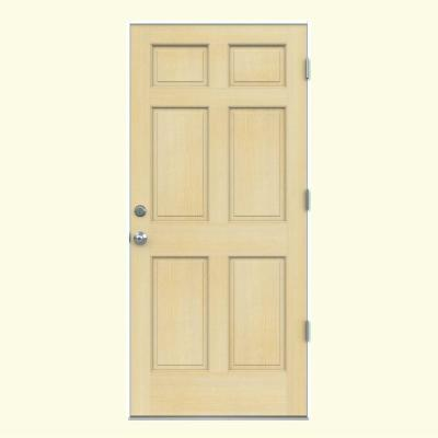 6-Panel Unfinished Hemlock Prehung Front Door with Primed White AuraLast Jamb