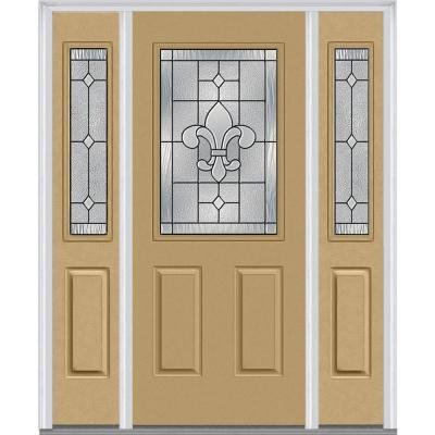 60 in. x 80 in. Carrollton Decorative Glass 1/2 Lite Painted Fiberglass Smooth Prehung Front Door with Sidelites Product Photo