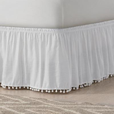 Pom Pom Solid  Bed Skirt