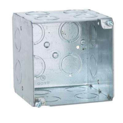 3-3/4 in. Square Welded Box, 3-1/2 Deep with 1/2 and 3/4 in. Concentric KO's (25-Pack) Product Photo