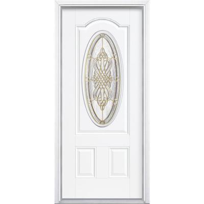 New Haven 3/4 Oval Lite Primed Steel Prehung Front Door with Brickmold