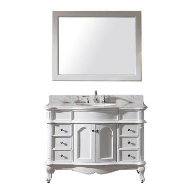 Virtu USA Norhaven 48 in. W x 23.6 in. D x 34.65 in. H White Vanity With Marble Vanity Top With White Round Basin and Mirror