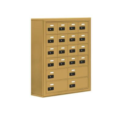 Salsbury Industries 19000 Series 30.5 in. W x 36.5 in. H x 9.25 in. D 16 A/4 B Doors S-Mount Resettable Locks Cell Phone Locker in Gold