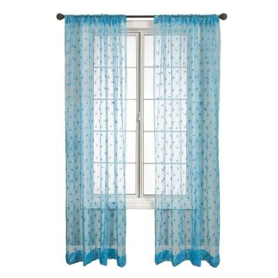 Home Decorators Collection Blue Fantasia Rod Pocket Curtain - 54 in.W x 84 in. L