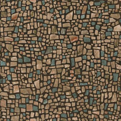 56 sq. ft. Brown And Blue Mosaic Pebble Wallpaper