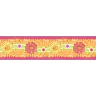 The Wallpaper Company 5 in. x 15 ft. Brightly Colored Daisy Border