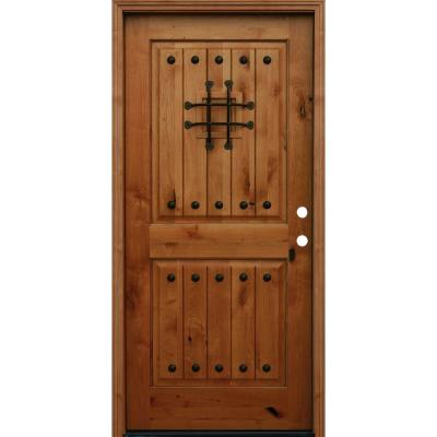 36 in. x 80 in. Rustic 2-Panel Square Top V-Grooved Stained Knotty Alder Wood Prehung Front Door with 6 in. Wall Series Product Photo