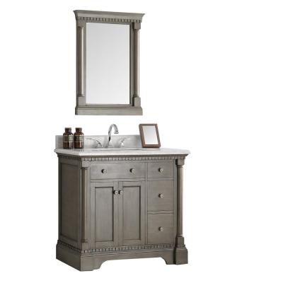 Fresca Kingston 36 in. Vanity in Antique Silver with Marble Vanity Top in Carrera White with White Ceramic Basin and Mirror