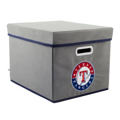 MyOwnersBox MLB STACKITS Texas Rangers 12 in. x 10 in. x 15 in. Stackable Grey Fabric Storage Cube