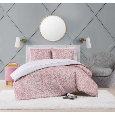 Leopard Pink Microfiber Bed Ensemble