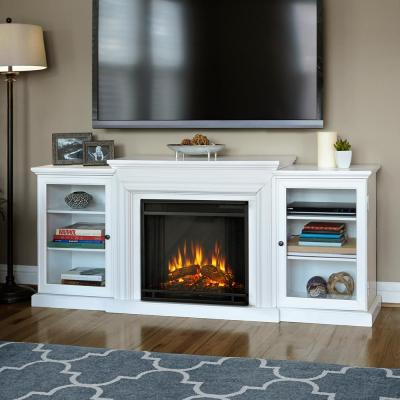 Real Flame Frederick 72 in. Entertainment Center Electric Fireplace in White