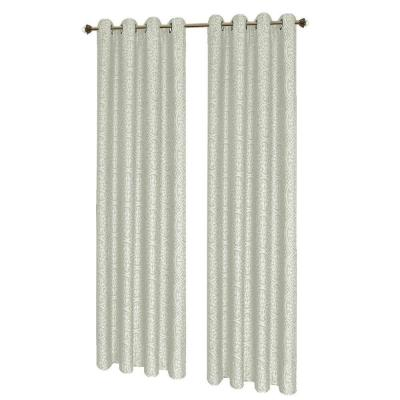 Mirabel Jacquard Ivory Grommet Extra Wide Curtain Panel, 54 in. W x 84. L Product Photo