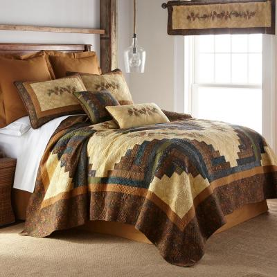Donna Sharp Cabin Raising Pine Cone Collection Graphic 140-Thread Count Cotton Quilt