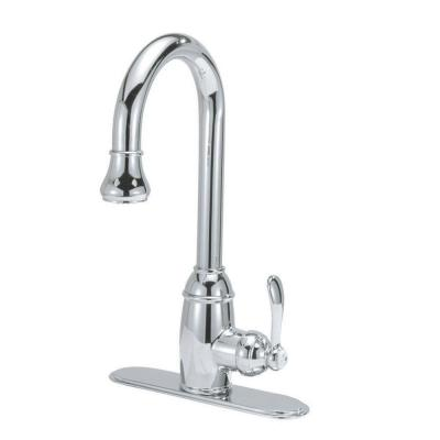Belle Foret 8 in. Single-Handle Pull-Down Sprayer Kitchen Faucet with Optional Deck Plate and Ceramic Disc Cartridge in Chrome