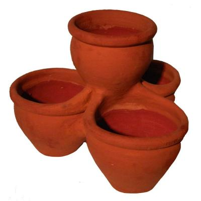 18 in. Terra Cotta Handmade Wash 4 Pot Planter