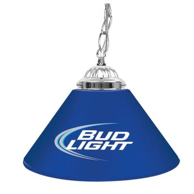 Trademark Global Bud Light 14 in. Single Shade Blue and Silver Hanging Lamp