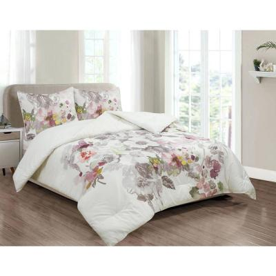 Brighton Grey and Blush Pink Watercolor Floral Cotton Comforter and Sham Set