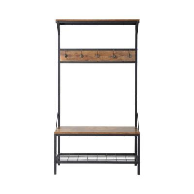 71 in. H x 39 in. W 3-Shelf Hall Tree in Antique Wood Product Photo