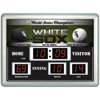 null Chicago White Sox 14 in. x 19 in. Scoreboard Clock with Temperature