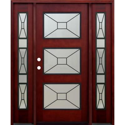 36 in. x 80 in. Contemporary 3 Lite Mistlite Stained Mahogany Wood Prehung Front Door with Grille and 14 in. Sidelites Product Photo