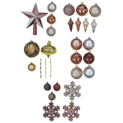 Martha Stewart Living Merry Metallic Assorted Christmas Ornaments with Tree Topper (100-Pack)