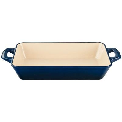 Small Deep Cast Iron Roasting Pan with Enamel Finish in Blue