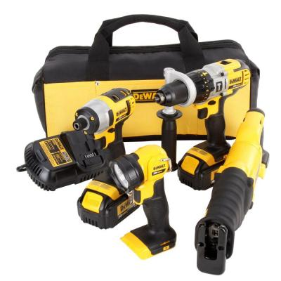 DEWALT 20-Volt MAX Lithium-Ion Cordless Combo Kit (4-Tool) with (2) Batteries 3Ah, Charger and Contractor Bag