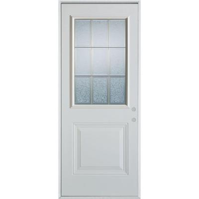 36 in. x 80 in. Geometric Clear and Brass 1/2 Lite 1-Panel Prefinished White Left-Hand Inswing Steel Prehung Front Door Product Photo