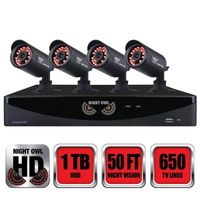 8-Channel 960H Security System with 1 TB HDD Surveillance DVR, 4 x 650 Bullet Cameras Refurbished Product Photo