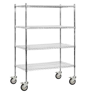 Salsbury Industries 9600M Series 48 in. W x 80 in. H x 24 in. D Industrial Grade Welded Wire Mobile Wire Shelving in Chrome