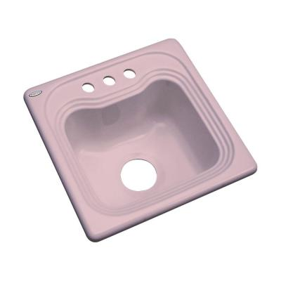 Thermocast Oxford Drop-In Acrylic 16 in. 3-Hole Single Bowl Bar Sink in Wild Rose
