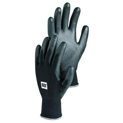 Beryllium Tear Resistant Smooth PU Dipped Breathable Stretch Nylon Glove in Black