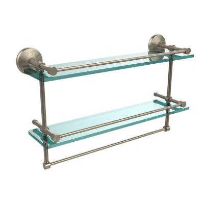22 in. W Gallery Double Glass Shelf with Towel Bar in Antique Pewter Product Photo