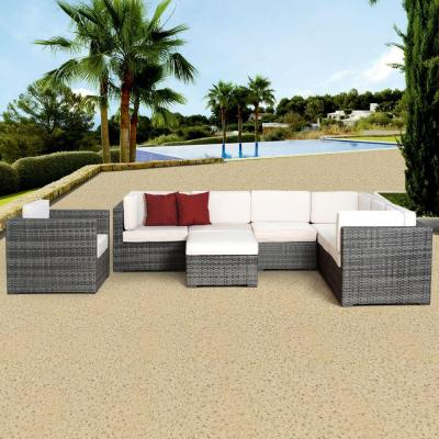 Marseille Grey 8-Piece All-Weather Wicker Patio Seating Set with Off-White