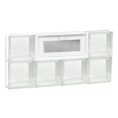 Frameless Clear Pattern Vented Glass Block Window
