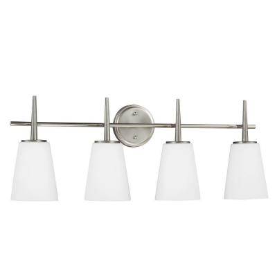Driscoll 4-Light Brushed Nickel Wall/Bath Vanity Light with Inside White Painted