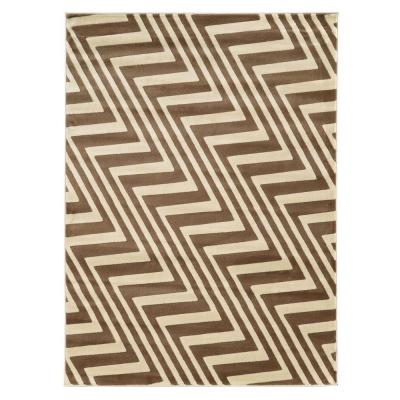 Roma Collection ZigZag Ivory and Beige 8 ft. x 10 ft.