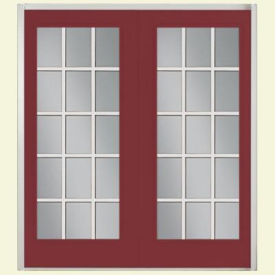 Masonite 72 in. x 80 in. Red Bluff Prehung Right-Hand Inswing 15 Lite Fiberglass Patio Door with No Brickmold in Vinyl Frame