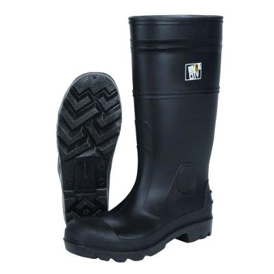 Size 9 Black PVC 100% Waterproof Cleated Sole Boots
