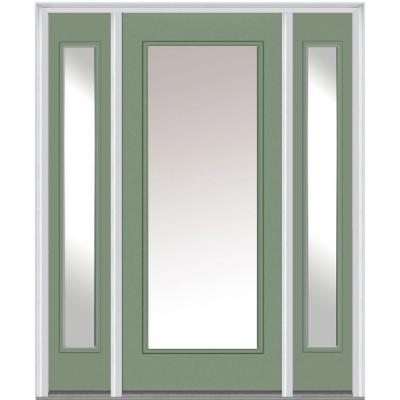 64 in. x 80 in. Classic Clear Glass Full Lite Painted Majestic Steel Prehung Front Door with Sidelites Product Photo