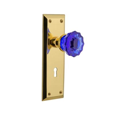 Nostalgic Warehouse New York Plate Interior Mortise Crystal Cobalt Glass Door Knob in Unlaquered Brass