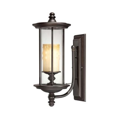 Filament Design Satin Wall Mount Outdoor English Bronze with Gold Accents Incandescent Lantern