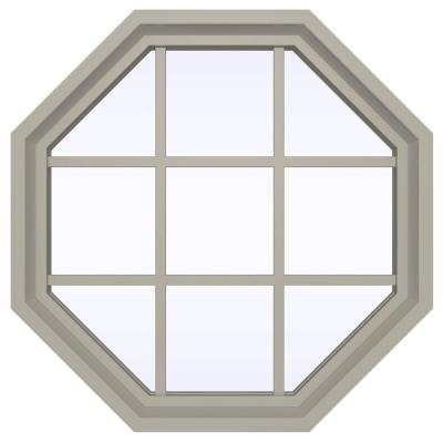 35.5 in. x 35.5 in. V-4500 Series Fixed Octagon Vinyl Window with Grids - Tan Product Photo