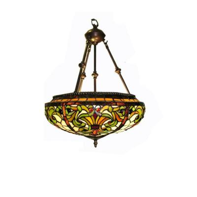 Classic 2-Light Brass Multicolored Hanging Lamp